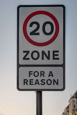 Sign: 20, for a reason, seen in Whitley Bay in Tyne And Wear, England, UK