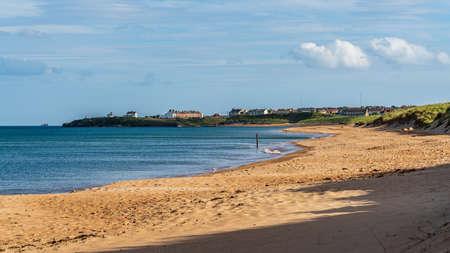 North Sea Coast and beach near Seaton Sluice in Northumberland, England, UK