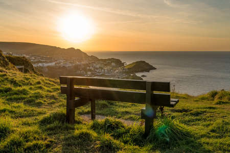 Bench with a view: Looking from Hillsborough Hill towards Ilfracombe, Devon, England, UK Фото со стока