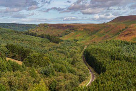 North York Moors landscape in Newtondale, seen from the Levisham Moor, North Yorkshire, England, UK 写真素材