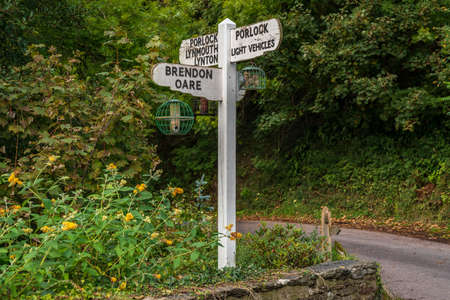 Old Directional signs, seen in Brendon, Devon, England, UK Stok Fotoğraf