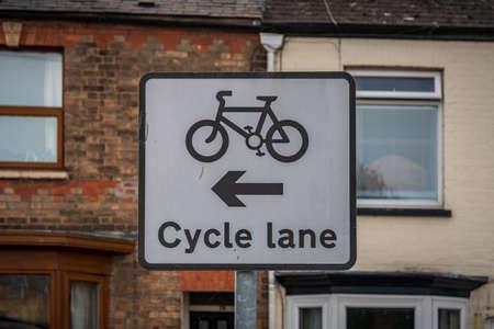 Sign: Cycle Lane - seen in Taunton, Somerset, England, UK