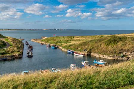 Seaton Sluice, Northumberland, England, UK - September 11, 2018: Boats in Seaton Sluice harbour Editorial