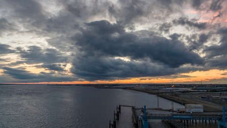 Kingston Upon Hull, England, UK - Sepgtember 14, 2018: View from the Hull Ferry Terminal over the Harbour and the River Humber
