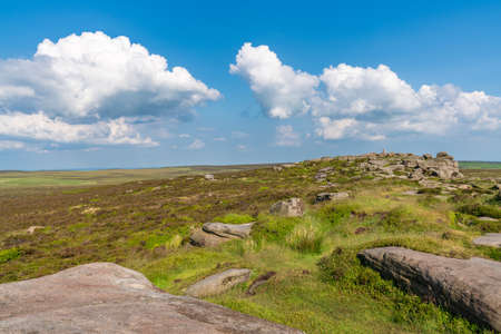 On top of Stanage Edge near Hathersage in the East Midlands, Peak District, Derbyshire, England, UK Stock Photo