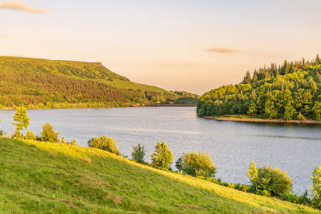Evening light over the Peak District at the Ladybower Reservoir near Bamford in the East Midlands, Derbyshire, England, UK