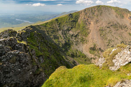 View from Mount Snowdon, Snowdonia, Gwynedd, Wales, UK - looking north at Garnedd Ugain, the Pyg Track and the Miners Track