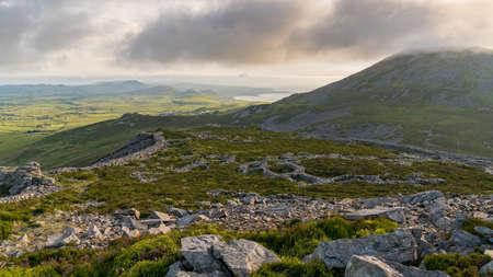 Welsh landscape on the Llyn Peninsula - view from Tre'r Ceiri, towards Yr Eifl, near Trefor, Gwynedd, Wales, UK