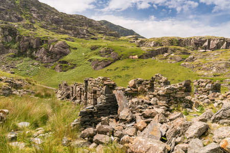The ruin of Cwmorthin Terrace near Blaenau Ffestiniog, Gwynedd, Wales, UK