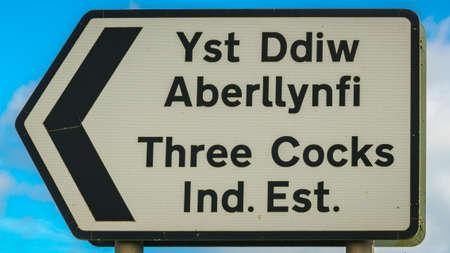 Sign: Three Cocks Industrial Estate (Welsh & English) Reklamní fotografie