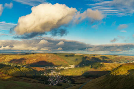 View from the A4061 road over Treorchy in Rhondda Cynon Taf, Mid Glamorgan, Wales, UK Reklamní fotografie