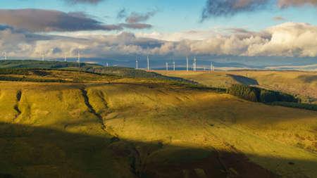 Wind turbines and clouds, Mynydd Tyle Goch in Rhondda Cynon Taf, Mid Glamorgan, Wales, UK