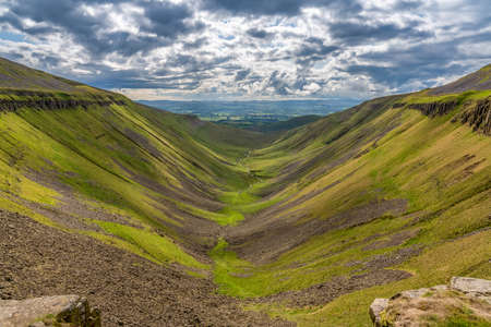 North Pennine landscape at the High Cup Nick in Cumbria, England, UK Stock fotó - 120270215