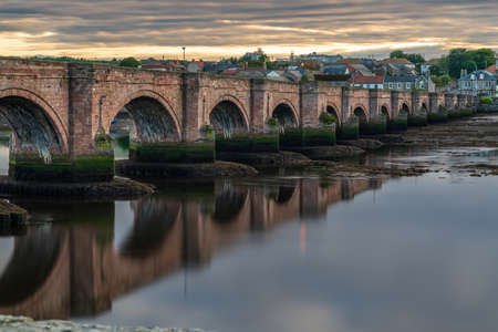 Old Bridge over the River Tweed in Berwick-upon-Tweed, Northumberland, England, UK Stock Photo