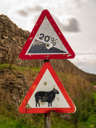 Sign: 20% Descent, Attention sheep, seen near Levisham, North Yorkshire, England, UK Stock fotó