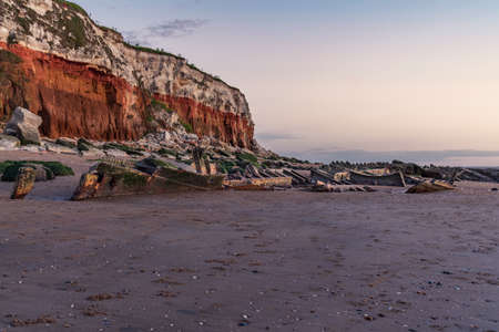 The Wreck of the Steam Trawler Sheraton in the evening light at the Hunstanton Cliffs in Norfolk, England, UK Stock Photo