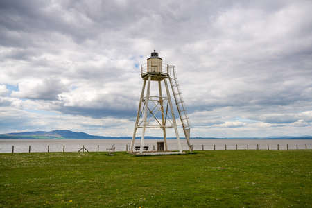 Clouds over the East Cotes Lighthouse in Silloth, Cumbria, England, UK