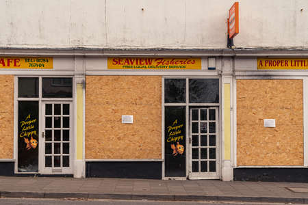 Skegness, Lincolnshire, England, UK - April 26, 2019: The Seaview Fisheries, closed due to a fire
