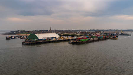 Harwich, Essex, England, UK - April 23, 2019: Harwich harbour, seen from the River Stour