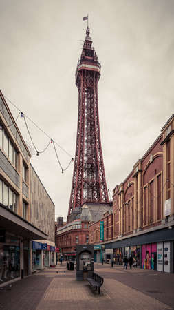 Blackpool, England, UK - April 28, 2019: Bank Hey Street with the Blackpool Tower in the background Редакционное