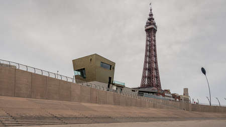 Blackpool, England, UK - April 28, 2019: View from the beach towards Blackpool Tower