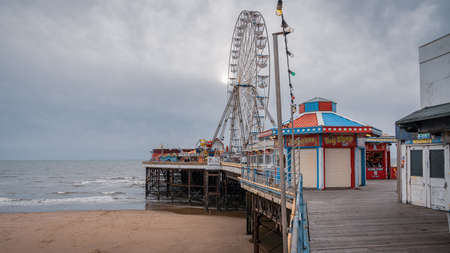 Blackpool, England, UK - April 28, 2019: Walking on the Central Pier