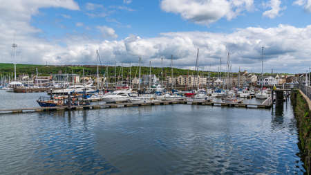 Whitehaven, Cumbria, England, UK - May 03, 2019: The Marina, seen from the Old Quay