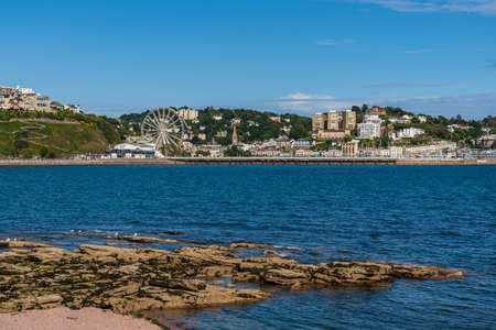 Torquay, Torbay, England, UK - June 04, 2019: View from the Torre Abbey Sands at the Marina and Torquay