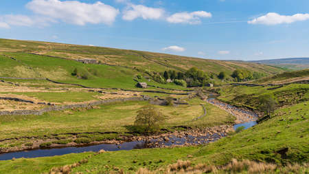 Yorkshire Dales landscape with the River Swale between Birkdale and Keld, North Yorkshire, England, UK