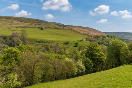 Landscape in the Swaledale between Keld and the Kisdon Force, North Yorkshire, England, UK Фото со стока