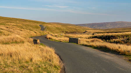 Driving through the Yorkshire Dales on the B6270 road between Nateby and Birkdale, North Yorkshire, England, UK