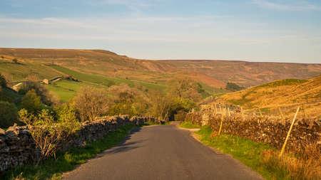 Driving on the B6270 road near Keld, North Yorkshire, England, UK
