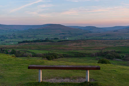 A bench with a view from the Buttertubs Pass (Cliff Gate Rd) between Thwaite and Simonstone, North Yorkshire, England, UK