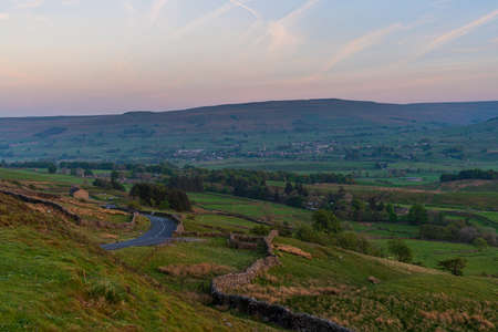 View at the Yorkshire Dales landscape from the Buttertubs Pass (Cliff Gate Rd) between Thwaite and Simonstone, North Yorkshire, England, UK