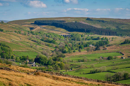 Yorkshire Dales landscape with the Dent Head Viaduct, near Cowgill, Cumbria, England, UK