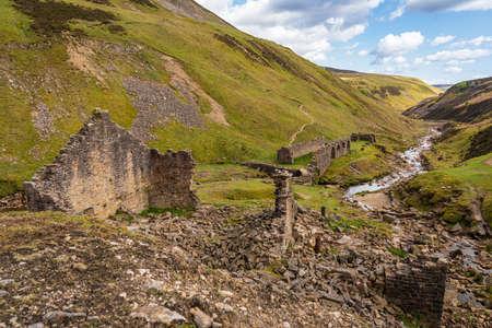 The remains of Blakethwaite Smelt Mill near Gunnerside, North Yorkshire, England, UK Stock Photo