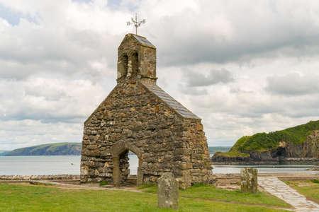 Cwm-yr-Eglwys, Dyfed, Wales, UK - May 21, 2017: Church ruin at the Pembrokeshire coast