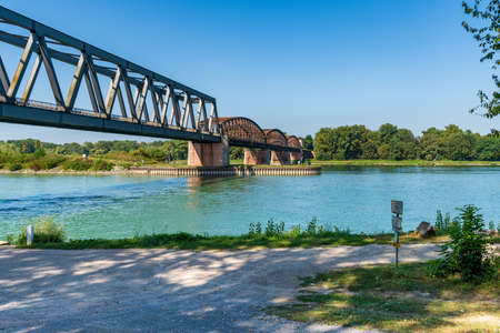 Wintersdorf, Baden-Wuerttemberg, Germany - August 30, 2019: Bridge over the River Rhine
