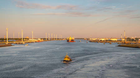 Rotterdam, South Holland, Netherlands - May 13, 2019: View towards the ships on the Calandkanaal at the Europoort Editöryel