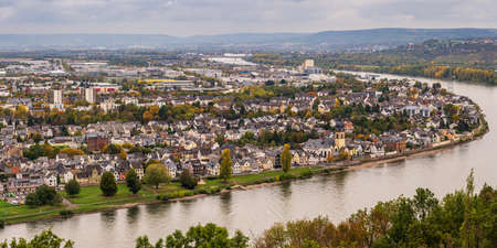 Koblenz, Rhineland-Palatine, Germany - October 15, 2019: View from Ehrenbreitstein over Koblenz and the River Rhine Editöryel