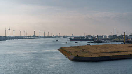 Rotterdam, South Holland, Netherlands - May 13, 2019: View from the Elbehaven towards the ships on the Calandkanaal at the Europoort