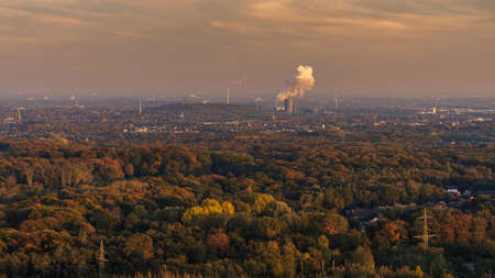 Bottrop, North Rhine-Westfalia, Germany - October 30, 2019: Evening light over the Ruhr Area, seen from Halde Haniel