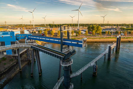 Rotterdam, South Holland, Netherlands - May 13, 2019: The ferry terminal in the Beneluxhaven of Europoort