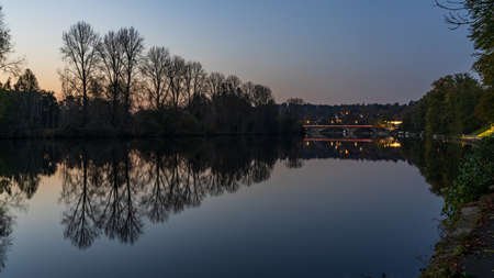 Muelheim an der Ruhr, North Rhine-Westfalia, Germany - October 31, 2019: Evening at the shore of the River Ruhr Editöryel