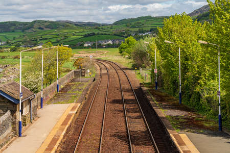Kirkby-in-Furness, Cumbria, England, UK - May 02, 2019: Two platforms of the Railway Station