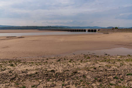 Looking at the railway bridge over the River Kent in Arnside, Cumbria, England, UK