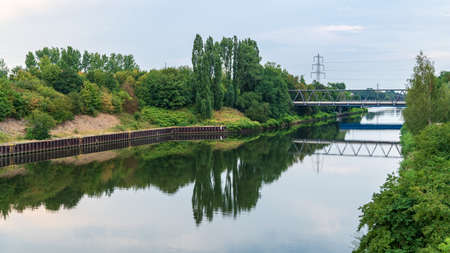 The Rhine-Herne Canal, seen from the Nordsternpark, Gelsenkirchen, North Rhine-Westfalia, Germany Imagens