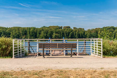 Benches with view over the Baldeney lake, Essen, North Rhine-Westfalia, Germany
