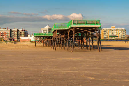 St Anne's, Lancashire, England, UK - April 29, 2019: View from the beach at St. Anne's Pier with the promenade in the background Editorial