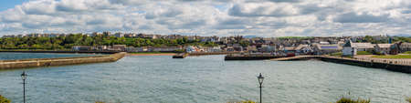 Maryport, Cumbria, England, UK - May 04, 2019: View from Salmoor Way at the Marina, the town and the River Ellen Editorial